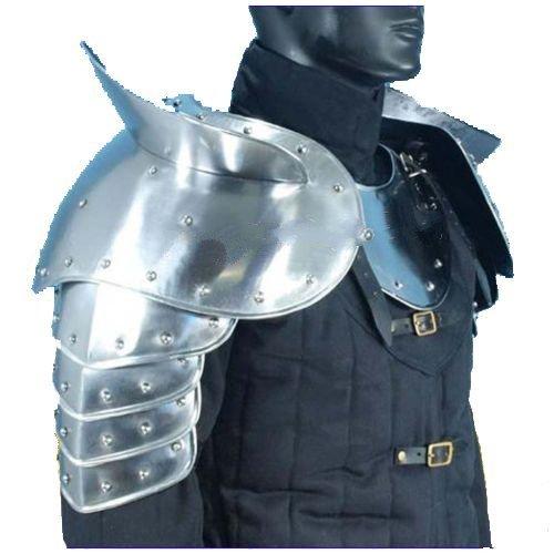Medieval Gothic Fantasy Shiny Metal Gorget+Shoulder Guard Warrior Pauldron Armor Standard Silver