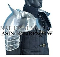 NAUTICALMART Medieval Gothic Fantasy Shiny Metal Gorget+Shoulder Guard Warrior Pauldron Armor Standard Silver