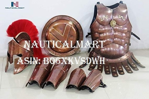 NauticalMart Medieval Copper 300 Spartan Set Muscle Armor Helmet W/Red Plume Leg Arm Guards Halloween