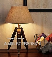 NAUTICALMART DESIGNER WOOD AND BEIGE COLOR TRIPOD TABLE LAMP
