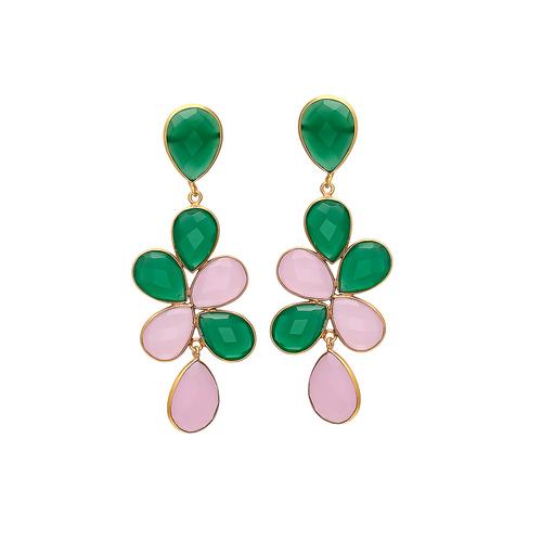 Green Onyx & Rose Chalcedony Gemstone Earrings