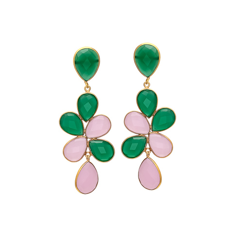 Green Onyx & Rose Chalcedony Gemstone Earrings