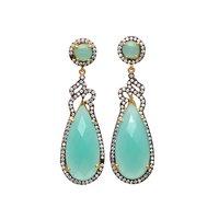 Rose Chalcedony & White Cz Gemstone Earrings