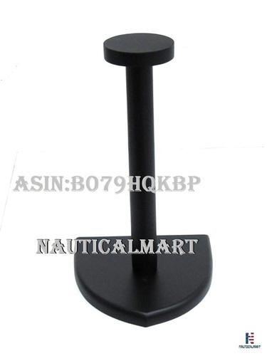 NAUTICALMART Helmet Stand Wooden Black Display Stand - Medieval Armor Helmet