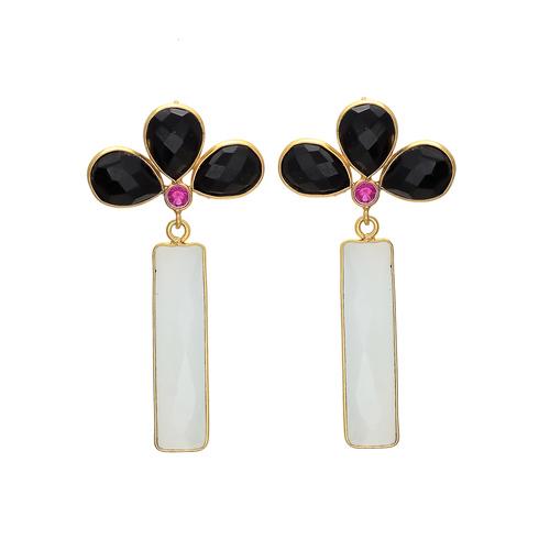 Milky Black Onyx & Pink Cz Gemstone Earrings