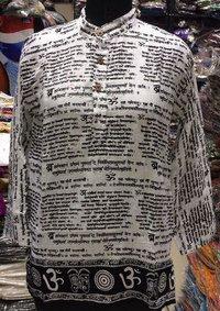 Mens Cotton Akhbar Print Short Kurta
