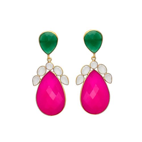 Green Onyx & Milky Fuchsia Chalcedony Gemstone Earring