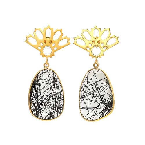 Black Rutile Gemstone Earrings