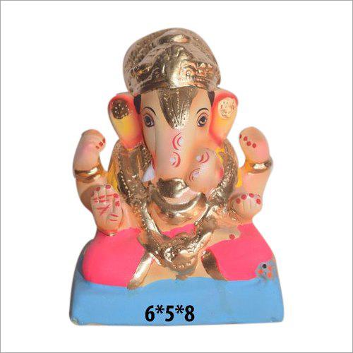 6X5X8 Inch Clay Ganesh Statue
