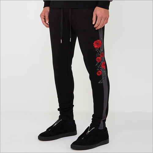 Mens Black Rose Embroidered Joggers