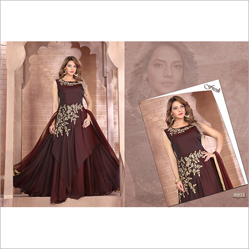 Ladies Maroon Partywear Silk Gown