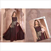 Ladies Maroon Partywear Silk Gown