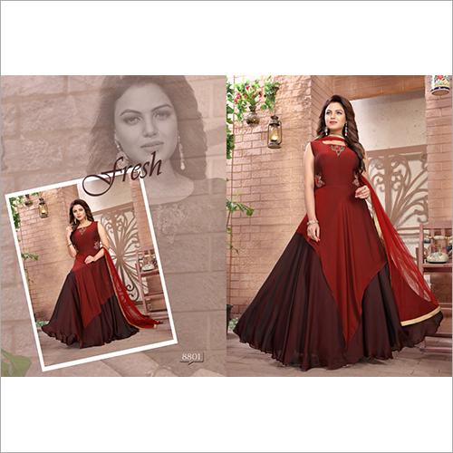 Ladies Maroon Designer Long Gown