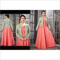 Glamours Peach DesignerFloor Length Suit