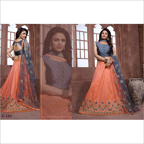 Ladies Peach Embroidered Lehenga