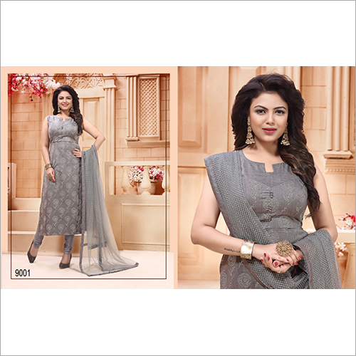 Ladies Grey Designer Straight Suit