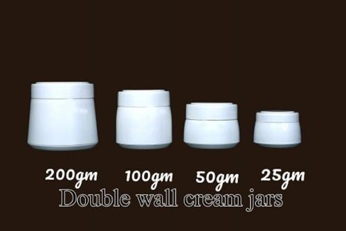 Plastic White Double Wall Cream Jars