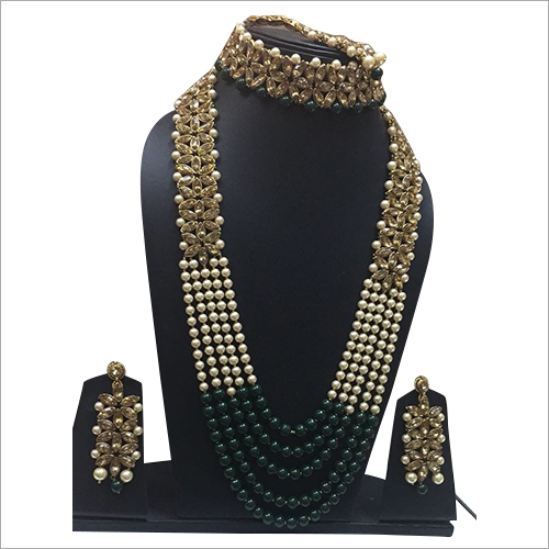 Dulhan Green Long Necklace Set