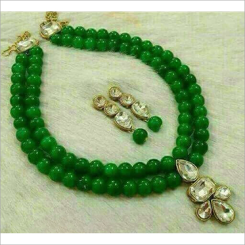 Glass Green Beads Necklace Set