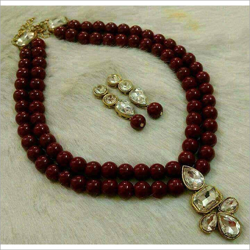 Glass Maroon Beads Necklace Set