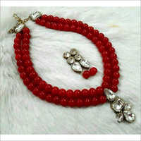 Glass Red Beads Necklace Set