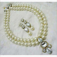 Glass White Beads Necklace Set