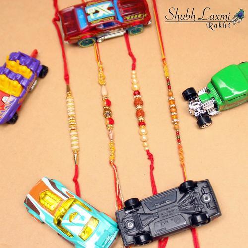 Designer rakhi with rudraksh moti
