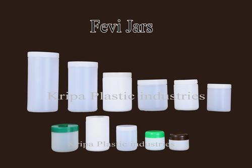 White Round Plastic Fevi Jars