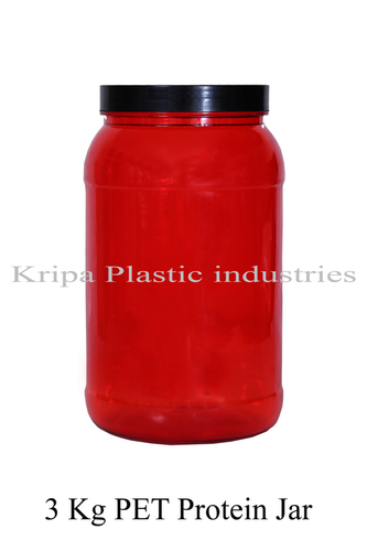 Plastic Pet Red 3 Kg PET Protein Jar
