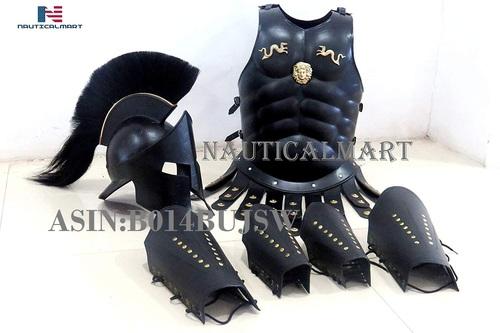 300 spartan helmet Maximus MUSCLE ARMOR & 300 HELMET & LEATHER LEG & ARM GURD by NauticalMart
