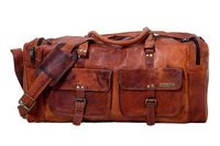 Handmade Genuine Vintage Leather Large Travelling Duffel Weekend Bag
