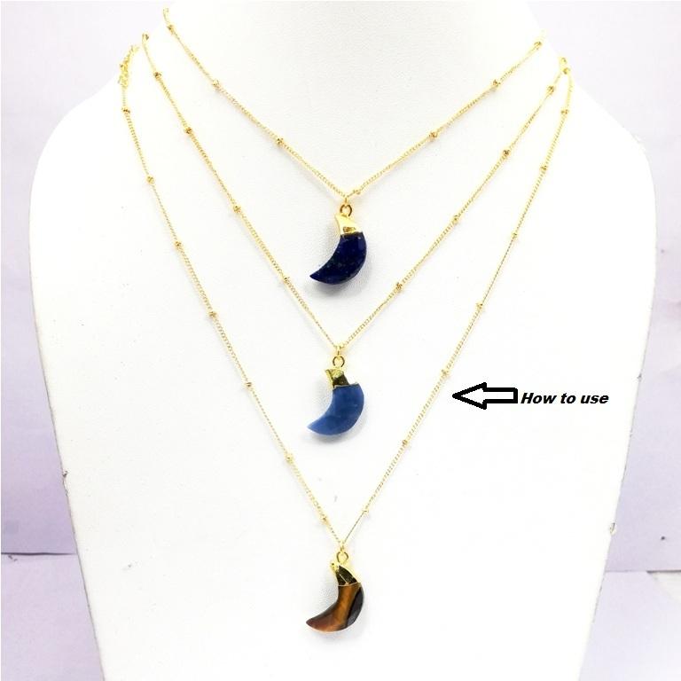 Semi Precious Gemstone Crescent Half Moon Charms Pendant