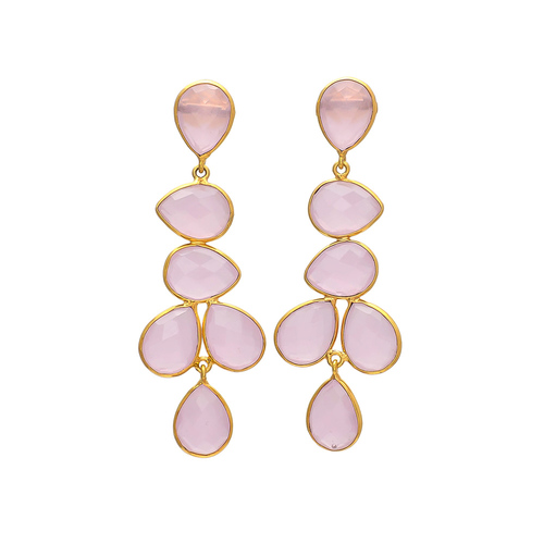 Rose Chalcedony Gemstone Earrings