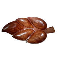 Carved Wood Leaf Serving Tray