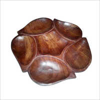 Wooden Leaf Divided Dish Tray