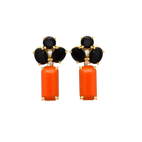 Black Onyx Orange & White Cz gemstone Earrings