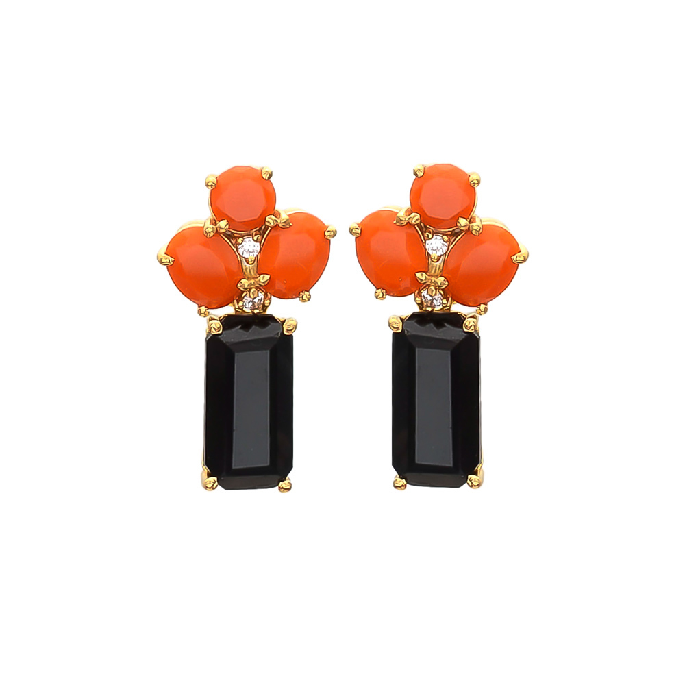 Black Onyx Orange & White Cz gemstone Earrings