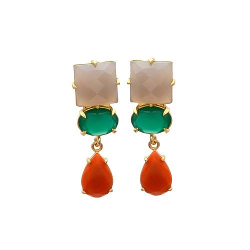 Gray Orange & Green Onyx Gemstone Earrings