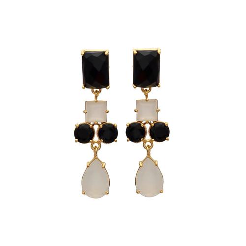 Black & Gray Chalcedony Gemstone Earrings