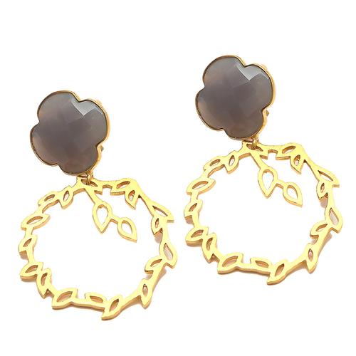 Gray Chalcedony Gemstone Earrings