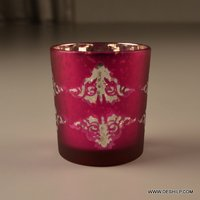 Silver Glass Printed T Light Candle Holder