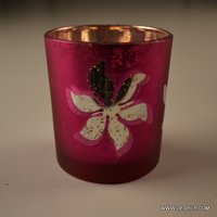 GLASS SILVER PRINTED CANDLE HOLDER