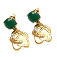 Green Onyx & White Cz Gemstone Earrings