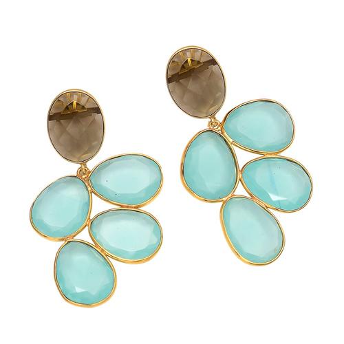 Aqua & Smoky Topaz Hydro Earrings
