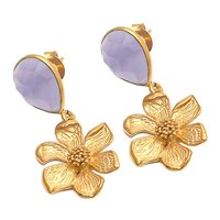 Lavender Chalcedony Gemstone Earrings