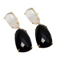 Black Onyx & Milky Chalcedony Gemstone Earrings