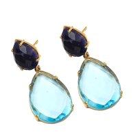 Blue Topaz Hydro & Lapis Lazuli Gemstone Earrings