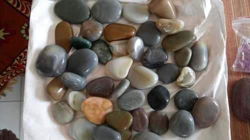 Natural flat and round river stone  machine mirror Polished Pebbles stone