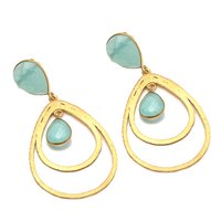 Aqua Chalcedony Gemstone Earrings