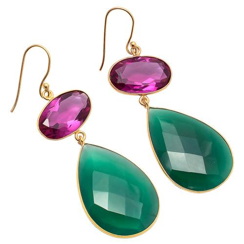Pink Tourmaline & Green Onyx Gemstone earring